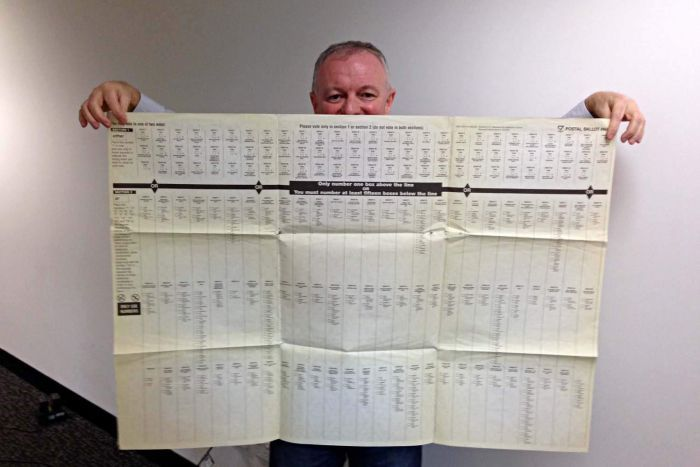 The author holding a copy of the 1999 NSW Legislative Council ballot paper.